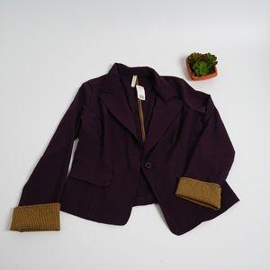 Purple Blazer with Yellow/Black Plaid Accents